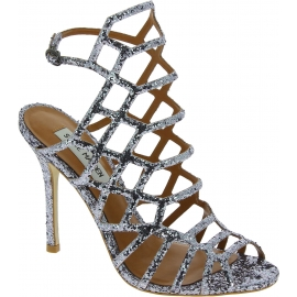 Steve Madden Women's high stiletto sandals with buckle in silver glittery