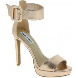 Steve Madden Women's platform ankle strap sandals heels in gold faux leather