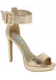 Steve Madden Women's platform ankle strap sandals heels in gold faux leather