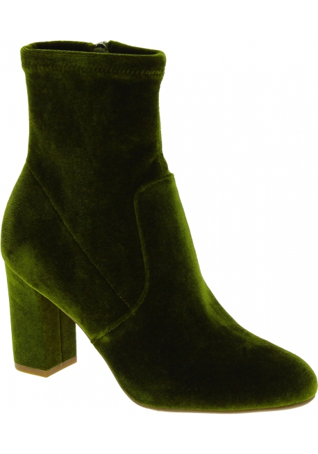 Steve Madden Women's fashion block heels ankle boots side zip in green velvet