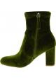 Steve Madden Women's fashion block heels ankle boots side zip in green velvet