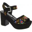 Steve Madden Women's platform floral embroidered sandals multicolor suede
