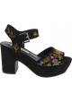 Steve Madden Women's platform floral embroidered sandals multicolor suede