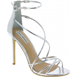 Steve Madden Women's ankle strap high stiletto sandals in silver faux leather