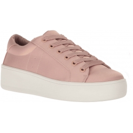 Steve Madden Women's low top platform lace-ups sneakers shoes in pink satin