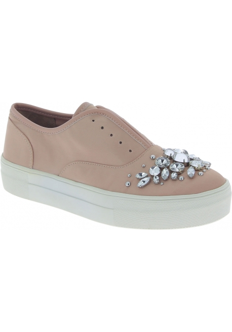 Steve Madden Women's fashion slip-on jewel studded shoes in pink canvas