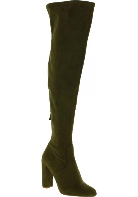 Steve Madden Women's heels overknee boots in green sued effect fabric