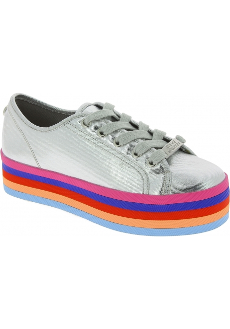 Steve Madden Women's low top platform lace-ups rainbow sneakers silver canvas