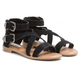 Steve Madden Women's fashion low sandals with buckles black nubuck leather