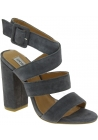 Steve Madden Women's high heels sandals with buckle in gray suede leather