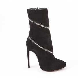 Alaïa midcalf zipped booties in black suede leather