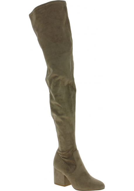 Steve Madden Women's fashion square heels overknee boots taupe suede fabric