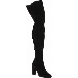 Steve Madden Women's high heels overknee boots back zip black suede fabric