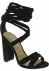 Steve Madden Women's high block heels lace-ups sandals in black suede fabric