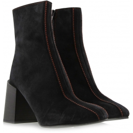 Acne Studios Women's heels ankle boots in black suede leather with side zip