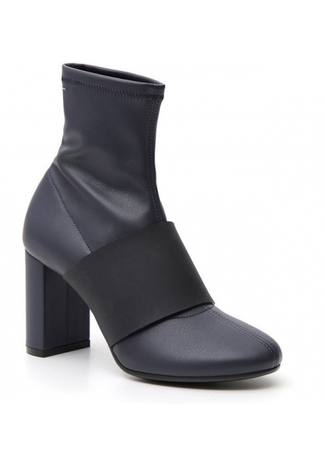 Maison Margiela Women's fashion square heeled ankle boots blue napa leather