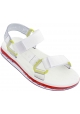 Melissa Women's fashion flat sandals in white rubber with velcro closure
