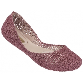 Melissa Women's fashion slip-on ballet flats shoes pink glitter woven rubber