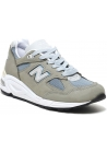 New Balance Men's lace-ups sneakers shoes in green suede leather and fabric