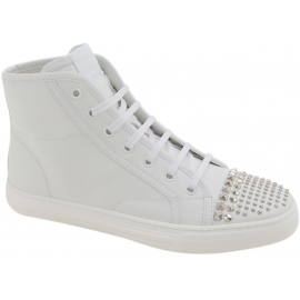 Gucci Women's fashion lace-ups studded ankle boots in white calf leather