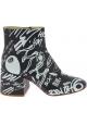 Maison Margiela Women's heels ankle boots black leather white print side zip