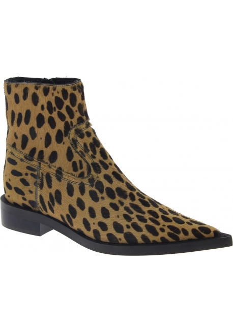 Maison Margiela Women's pointy ankle boots in leopard calf hair leather