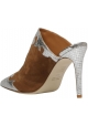 Paris Texas Women's high heels pointy mules shoes in brown suede leather