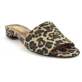 Paris Texas Women's fashion low heels mules shoes in leopard print suede