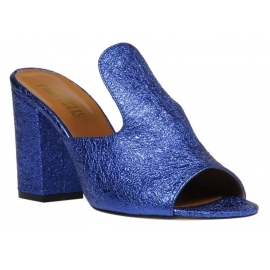 Paris Texas Women's high heels mules shoes in blue laminated calf leather