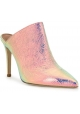 Paris Texas Women's high heels pointy mules shoes light pink laminated leather