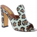 Paris Texas Women's fashion high heels mules leopard leather made in Italy
