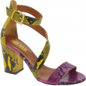 Paris Texas Women's ankle strap heels sandals in multicolored python leather