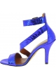 Paris Texas Women's ankle strap high heels sandals in blue python leather
