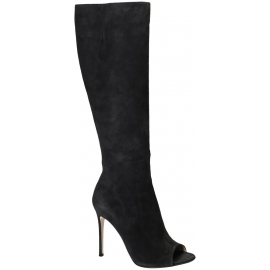 Gianvito Rossi knee high boots in Dark Gray suede leather