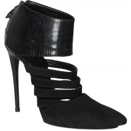 Balenciaga black suede high stiletto heels booties