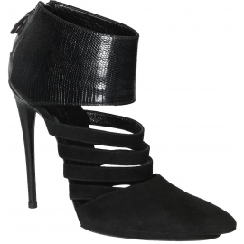Balenciaga black suede high stiletto heels booties