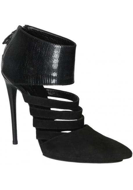 Balenciaga women's black suede high stiletto heels booties