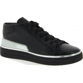 Prada Women's high top lace-ups sneakers shoes in black silver calf leather