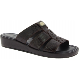 Dolce&Gabbana Men's fashion sandals shoes in dark brown crocodile leather