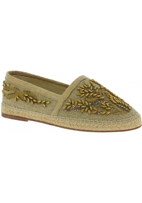Dolce&Gabbana Men's espadrilles in beige caiman leather and fabric with beads