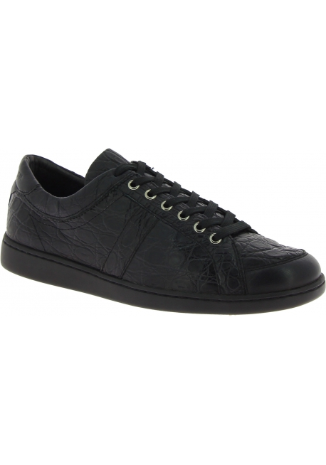 Dolce&Gabbana Men's fashion sneakers in black caiman leather crocodile print