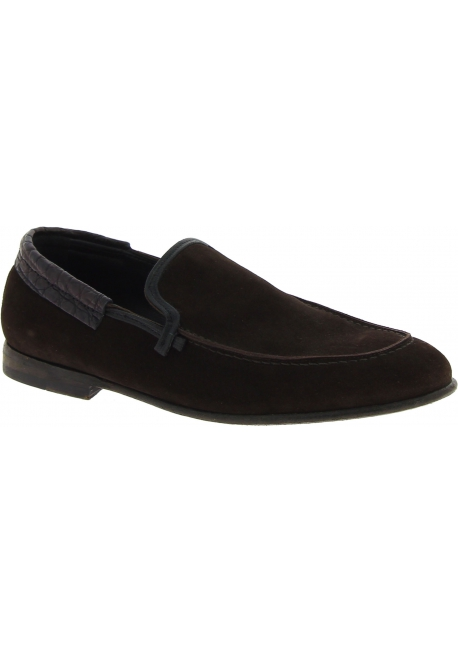 Dolce&Gabbana Men's fashion loafers shoes in dark brown suede caiman leather