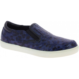 Dolce&Gabbana Men's fashion slip-on sneakers shoes in blue caiman leather