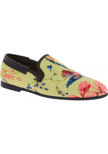 Dolce&Gabbana Men's fashion loafers shoes in beige canvas with floral print