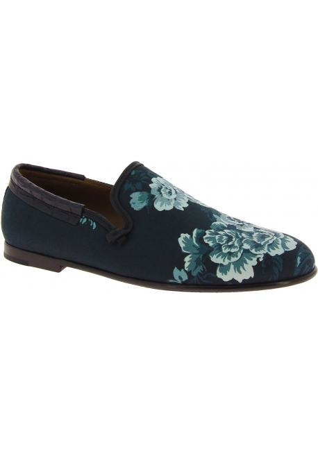 Dolce&Gabbana Men's loafers shoes in crocodile printed blue azure leather