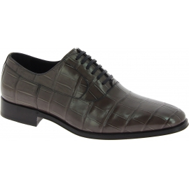 Dolce&Gabbana gray crocodile leather oxfords lace-ups