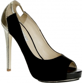 Burakuyan peep toes in black suede leather