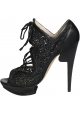 Nicholas Kirkwood heels booties in black Leather Fabric