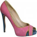 Nicholas Kirkwood peep toe shoes in pink suede leather