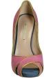 Nicholas Kirkwood peep toe shoes in pink suede leather